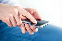 Man Touching On Mobile Smart Phone Stock Photography