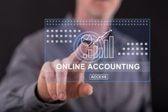 Man touching an online accounting concept on a touch screen Royalty Free Stock Photo