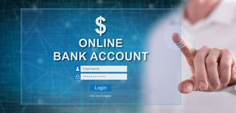 Man touching an online bank account website. On a touch screen with his finger royalty free stock photo