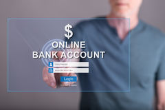 Man touching an online bank account website on a touch screen Stock Images