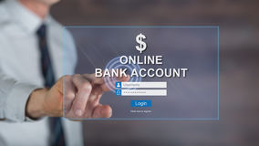 Man touching an online bank account website on a touch screen Stock Photography