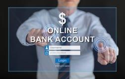 Man touching an online bank account website on a touch screen Stock Photos