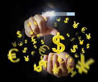 Man touching online button with money icon Royalty Free Stock Photography