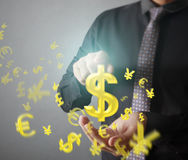 Man touching online button with money icon. Money concept Royalty Free Stock Images