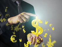 Man touching online button with money icon. Money concept Stock Images