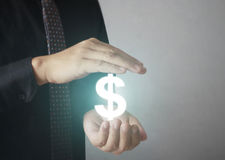 Man touching online button with money icon. Money concept Stock Photo