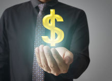 Man touching online button with money icon. Money concept Stock Photography