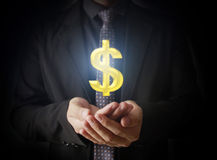 Man touching online button with money icon. Money concept Royalty Free Stock Image