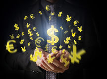 Man touching online button with money icon. Money concept Royalty Free Stock Photos