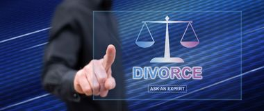 Man touching an online divorce advice website. On a touch screen with his finger stock image