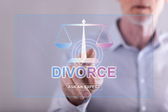 Man touching an online divorce advice website on a touch screen Royalty Free Stock Images