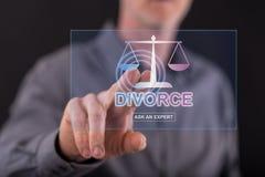 Man touching an online divorce advice website on a touch screen stock photo