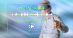 Man touching an online music concept. Man with vr headset touching an online music concept on a touch screen with his finger royalty free stock images