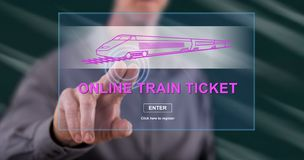 Man touching an online train ticket concept royalty free stock images