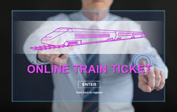 Man touching an online train ticket concept on a touch screen Stock Photography