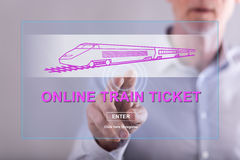 Man touching an online train ticket concept on a touch screen Stock Photos