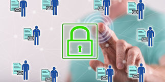 Man touching a personal data security concept on a touch screen Royalty Free Stock Images