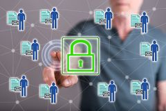 Man touching a personal data security concept Royalty Free Stock Photos
