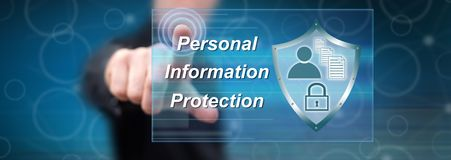 Man touching a personal information protection concept. On a touch screen with his finger stock image