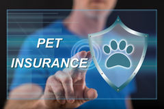 Man touching a pet insurance concept on a touch screen Royalty Free Stock Image