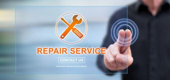 Man touching a repair service concept. On a touch screen with his fingers royalty free stock photos