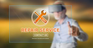 Man touching a repair service concept. Man with vr headset touching a repair service concept on a touch screen with his finger stock images