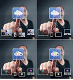 Man touching screen icons Royalty Free Stock Image