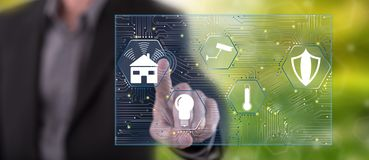 Man touching a smart home concept. On a touch screen with his finger vector illustration