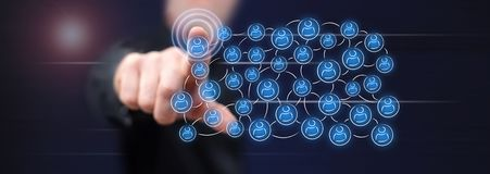 Man touching a social network concept stock photo