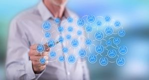 Man touching a social network concept Stock Photography