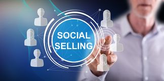 Man touching a social selling concept royalty free stock photo