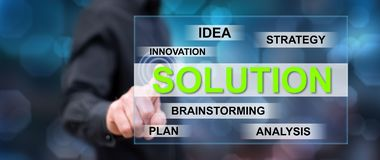Man touching a solution concept stock photography