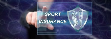 Man touching a sport insurance concept. On a touch screen with his finger royalty free stock images