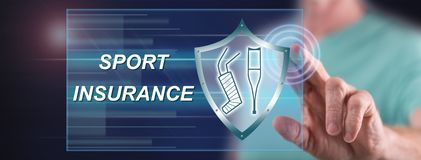 Man touching a sport insurance concept. On a touch screen with his finger royalty free stock photos