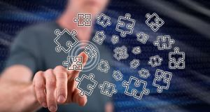 Man touching a teamwork concept. On a touch screen with his finger royalty free stock photo