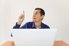 Man touching technology Royalty Free Stock Photo