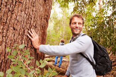 Man touching a tree in a forest, his son in the background royalty free stock photography