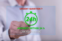 Man touching an urgent questions concept on a touch screen Royalty Free Stock Photos