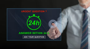 Man touching an urgent questions concept on a touch screen Stock Photos