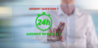 Man touching an urgent questions concept on a touch screen Stock Photography