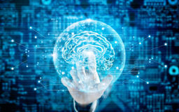 Man touching virtual brain innovative technology in science Stock Photography