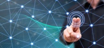 Man touching a virtual network royalty free stock photos