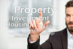 Man touching virtual word cloud. Businessman touching virtual word cloud on the property topic stock photo