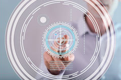 Man touching a virtuel technology concept on a touch screen Stock Images