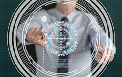 Man touching a virtuel technology concept on a touch screen Stock Photos