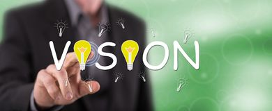 Man touching a vision concept. On a touch screen with his finger royalty free stock photo