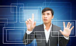 Man With Touchscreen Royalty Free Stock Image