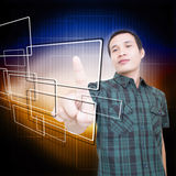 Man With Touchscreen Royalty Free Stock Photo