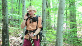 Man tourist with backpack using smartphone in forest. Male hiking with trekking sticks stock footage