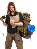 Man tourist backpacker with camera reading map. Stock Photos